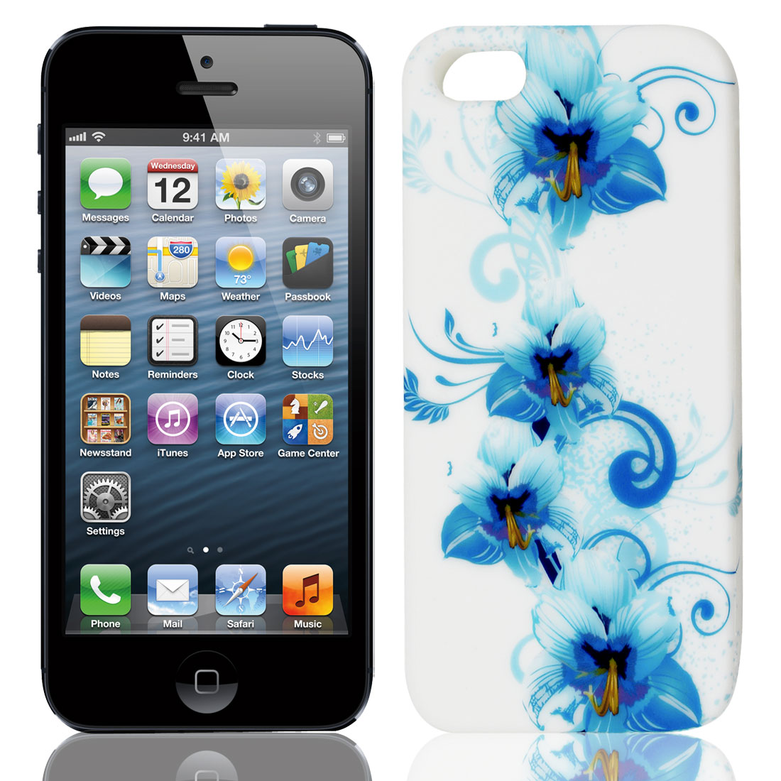 Light Blue Flower Vine White TPU Soft Case Cover for Apple iPhone 5 5G