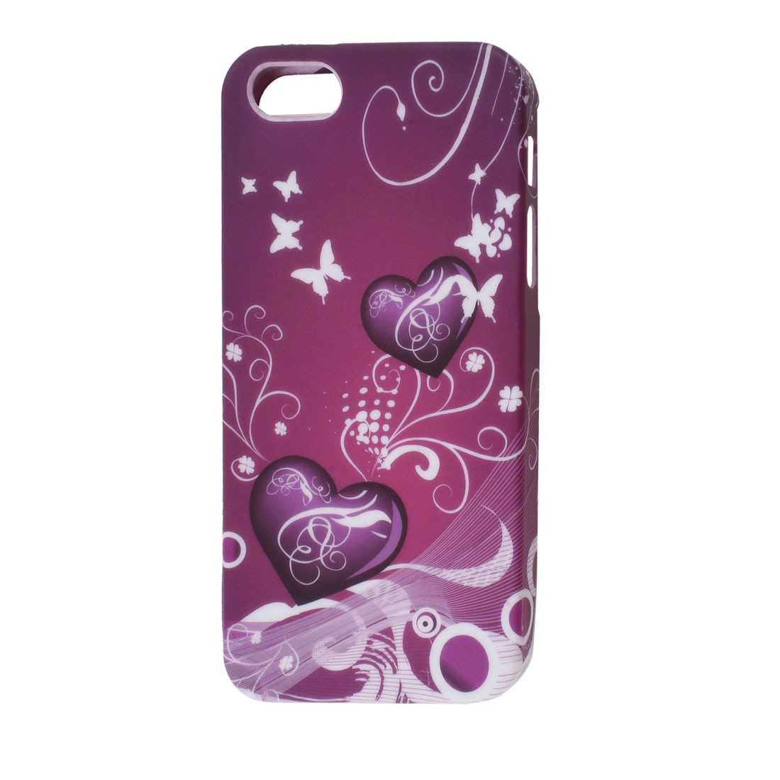 Purple Burgundy Heart Swirl Pattern TPU Soft Case Cover for Apple iPhone 5 5G