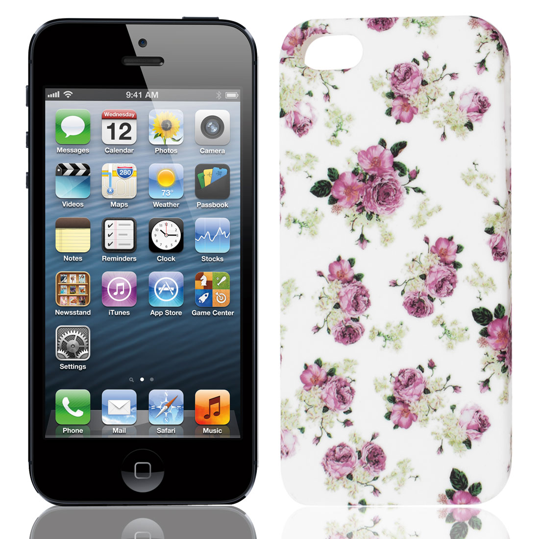 Dark Pink White Blooming Flower TPU Soft Case Cover for Apple iPhone 5 5G