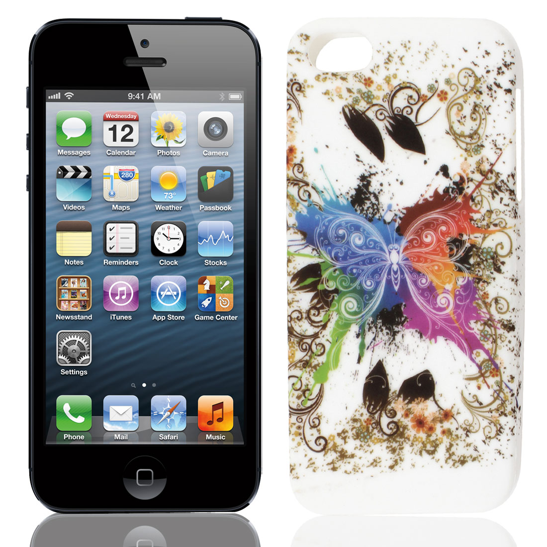 Multicolor Butterfly Flower Swirl TPU Soft Case Cover for Apple iPhone 5 5G