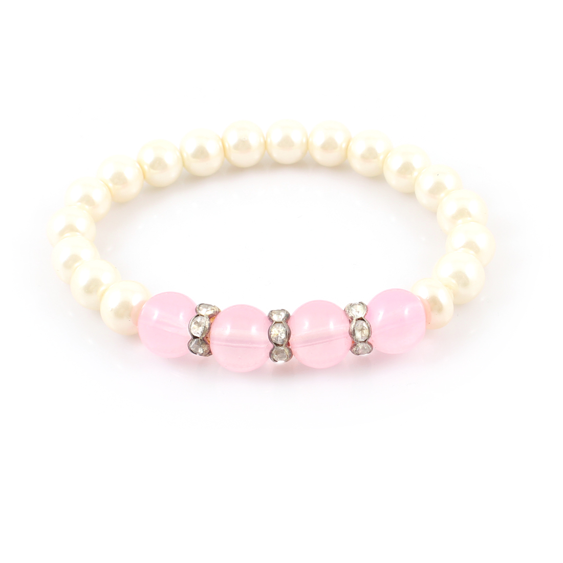 Lady Artificial Plastic Round Imitation Pearl Stretching Bracelet Jewelry Beige Pink