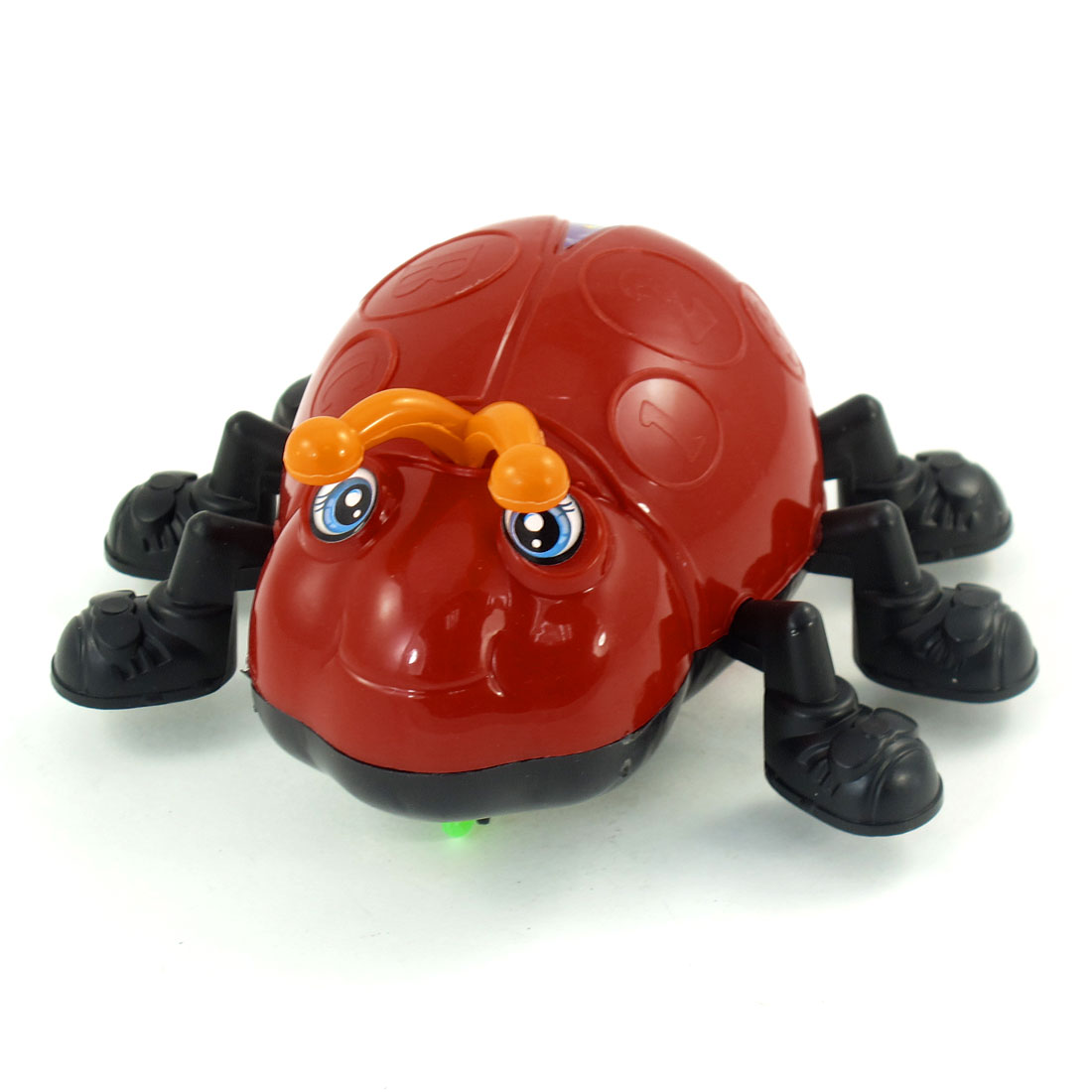 Red Hard Plastic Two Antenna Bug Design Runs Wheels Pull String Toy for Kids
