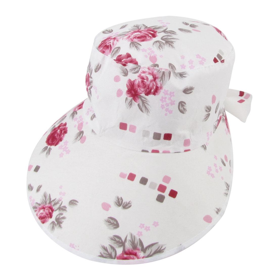 Lady Florals Pattern Wide Brim Outdoor Beach Visor Hat Cap Red White
