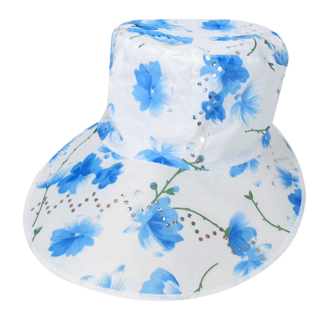 Self Tie Blue White Florals Prints Sequin Wide Visor Beach Hat Cap for Women