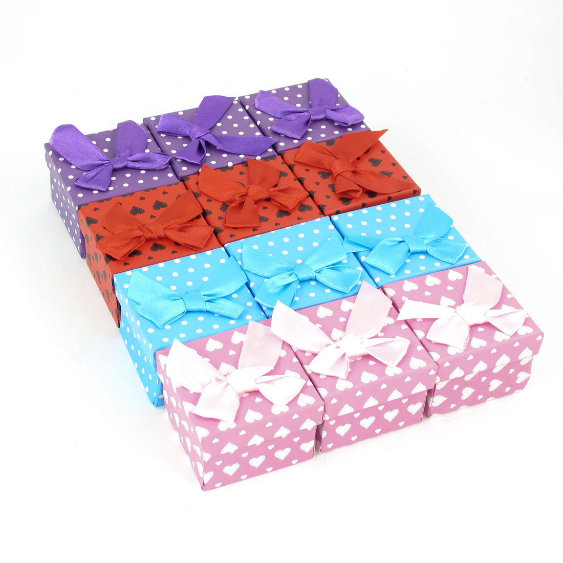 12 Pcs Assorted Color Bowknot Accent Cardboard Square Present Container Case