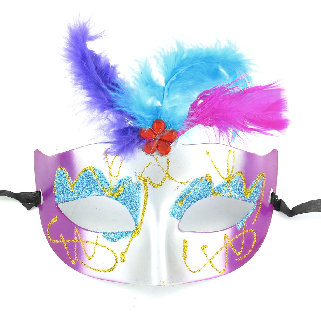 Ladies Nylon Self Tie String Style Assorted Color Plastic Party Masquerade Mask