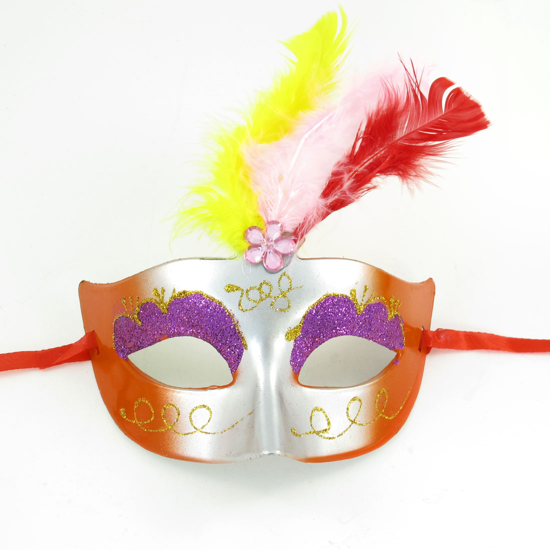 Plastic Faceted Beads Feather Decor Multicolor Party Masquerade Mask for Woman
