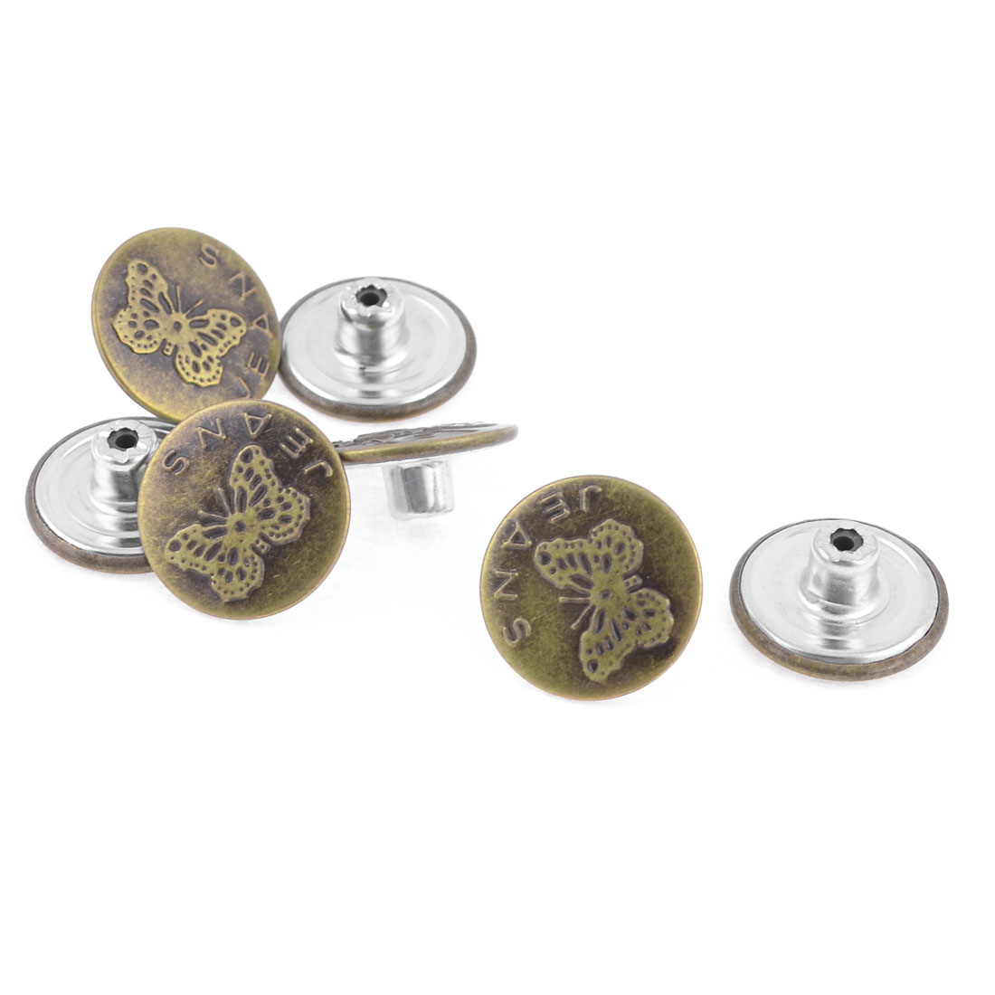 Replacement Bronze Tone Metal Carved Butterfly Pattern Jeans Buttons 7 Pcs