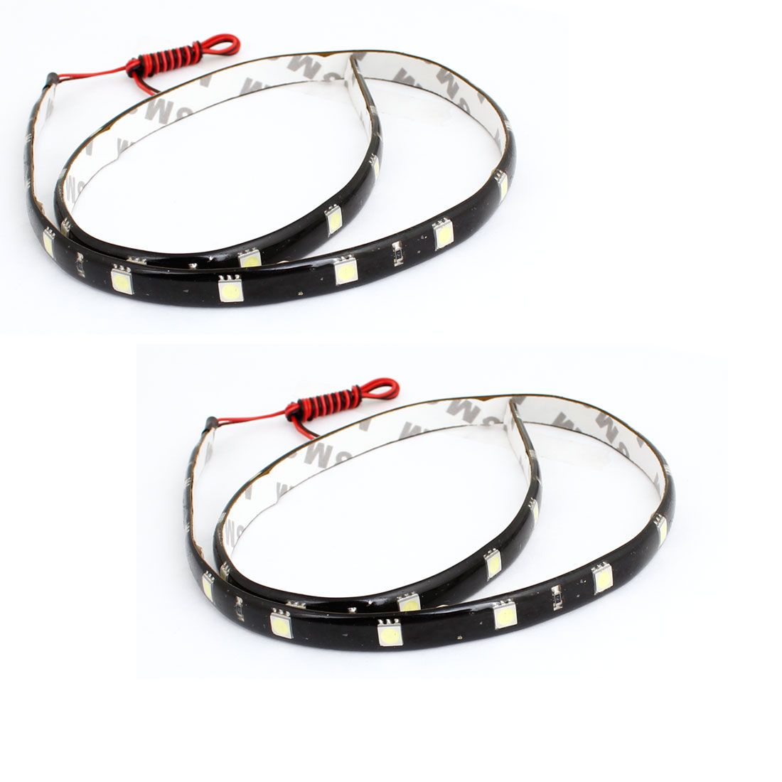 2 Pcs Adhesive Tape White 24 5050 SMD Auto Car Flexible Decor LED Strip 61cm