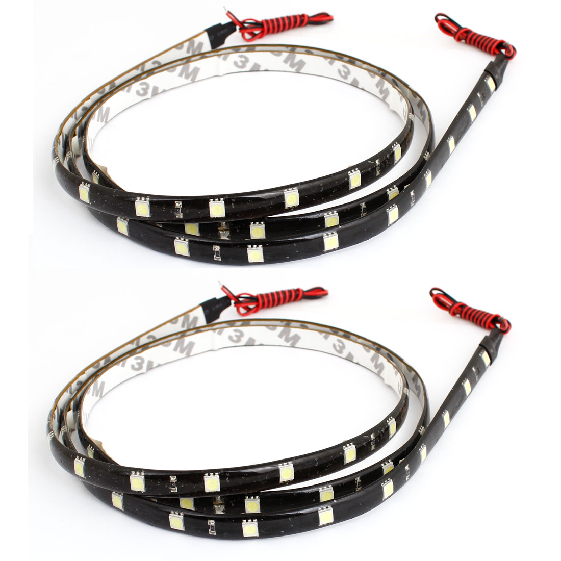 2 Pcs Adhesive Tape White 48 5050 SMD Auto Car Flexible Decor LED Strip 120cm