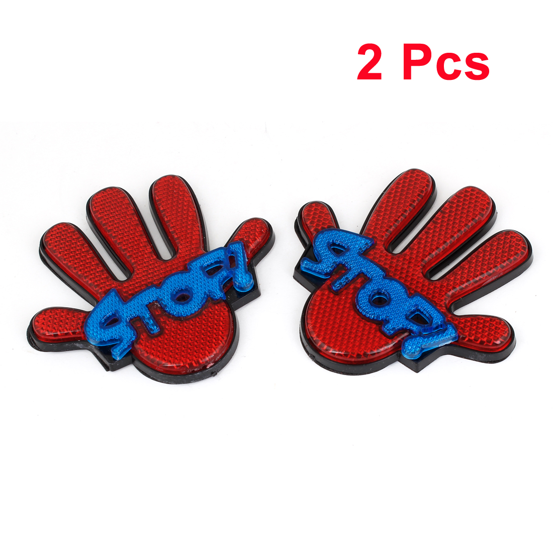 2pcs Van Car Truck Red Blue Plastic Palm Shaped Reflective Sticker