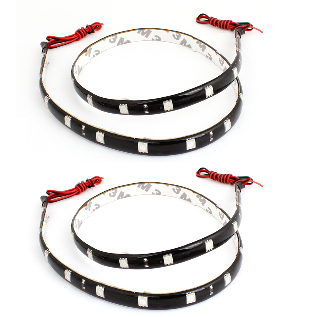 2 Pcs Adhesive Tape Blue 24 5050 SMD Auto Car Flexible Decor LED Strip 60cm