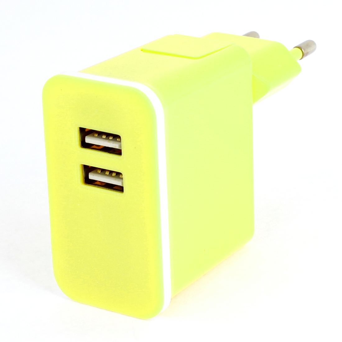 Yellow Plastic Shell 2 USB Ports AC Power Adapter Travel Charger EU Plug