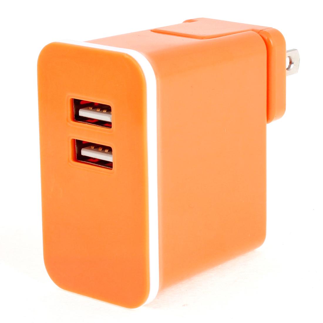 Orange Plastic Shell 2 USB Ports AC Power Adapter Travel Charger US Plug