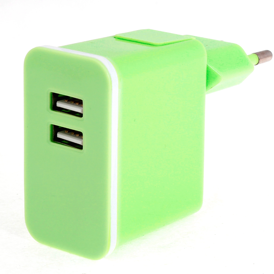 Green Plastic Shell 2 USB Ports AC Power Adapter Travel Charger EU Plug