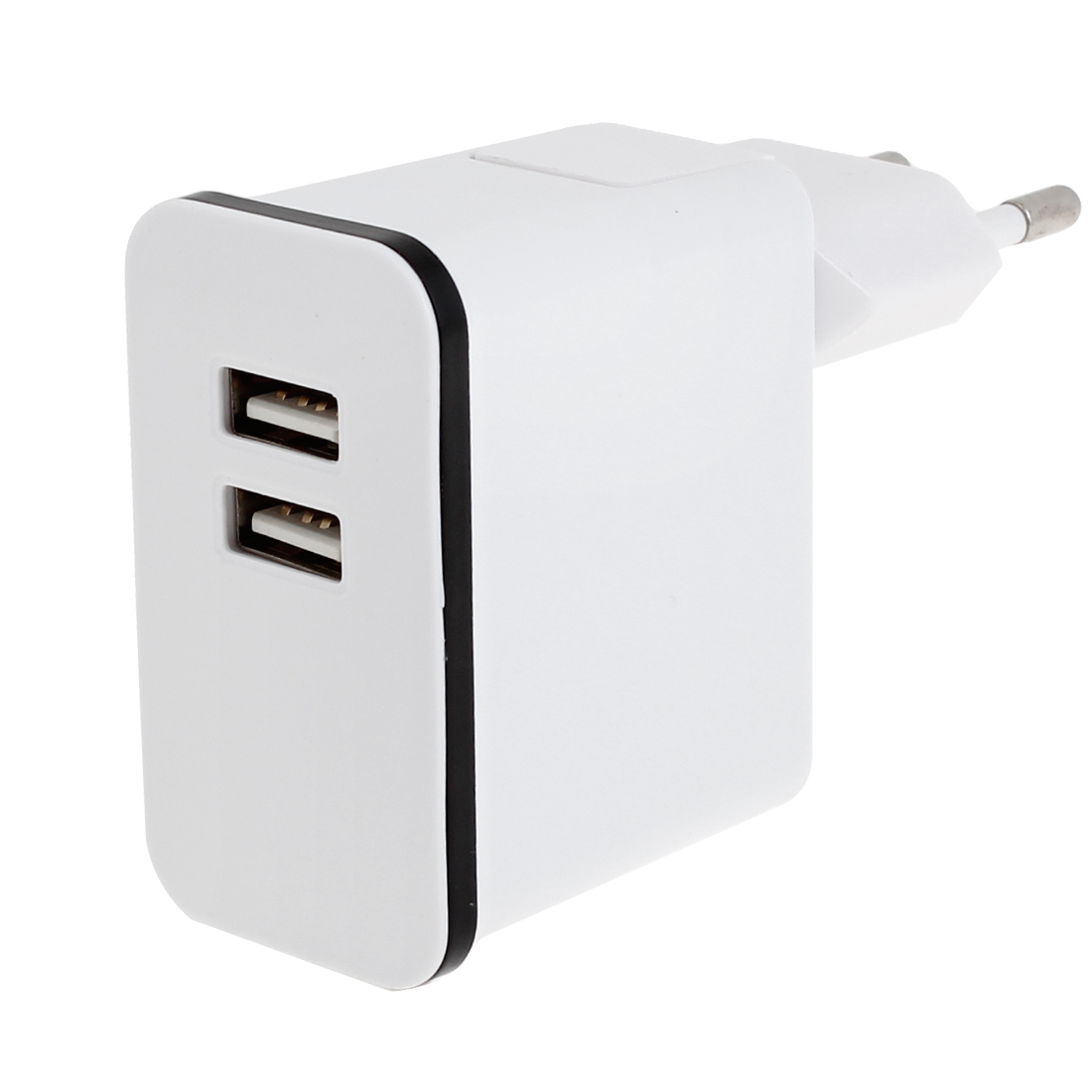 White Plastic Shell 2 USB Ports AC Power Adapter Travel Charger EU Plug
