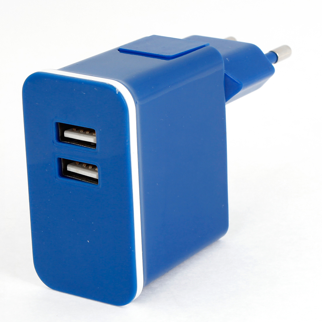 Blue Plastic Shell 2 USB Ports AC Power Adapter Travel Charger EU Plug