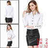 Allegra K Fashionable Women Single Breasted NEWS Casual Shirt White XS