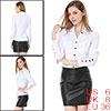 Allegra K Fashiona Women Point Collar Button Decor Cuffs Shirt White S