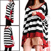 Black White Bar Stripes Pattern Batwing Long Sleeve Top for Lady XL
