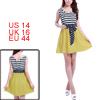Allegra K Woman Scoop Neck Striped Design Dark Blue Yellow Mini Dress L