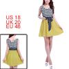 Dark Blue Yellow Splice Elastic Waist Mini Dress for Lady XL