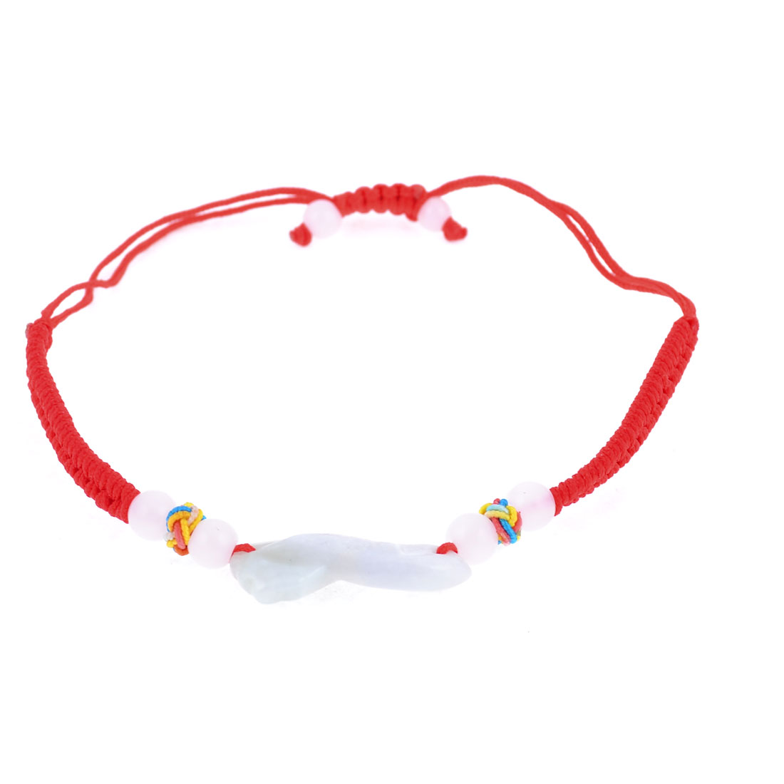Knitted String Faux Beads Decor Bracelet Chain Red for Girls