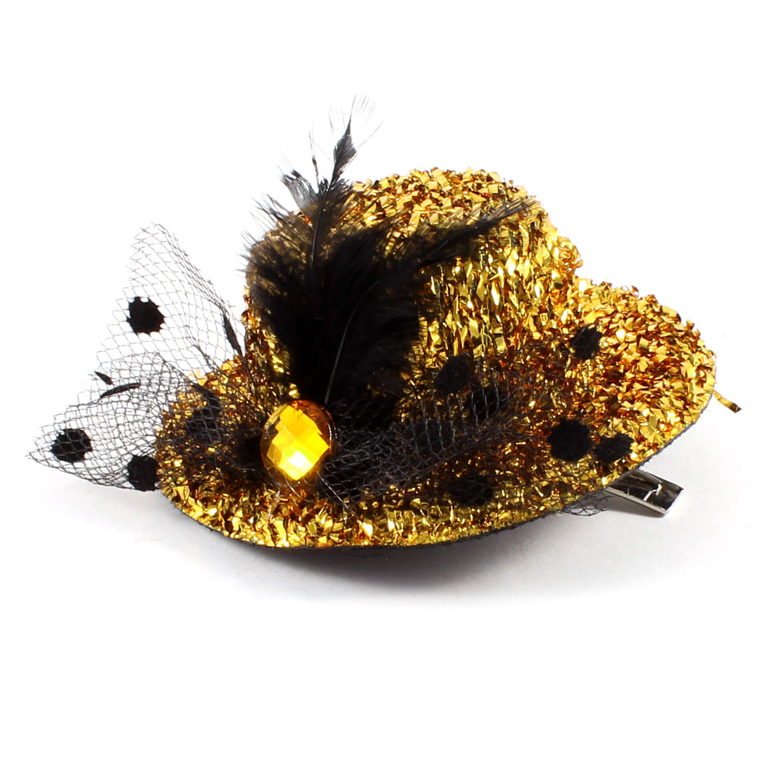 Wedding Gold Tone Black Faux Feather Mesh Decorated Glittery Mini Top Hat Hair Clip