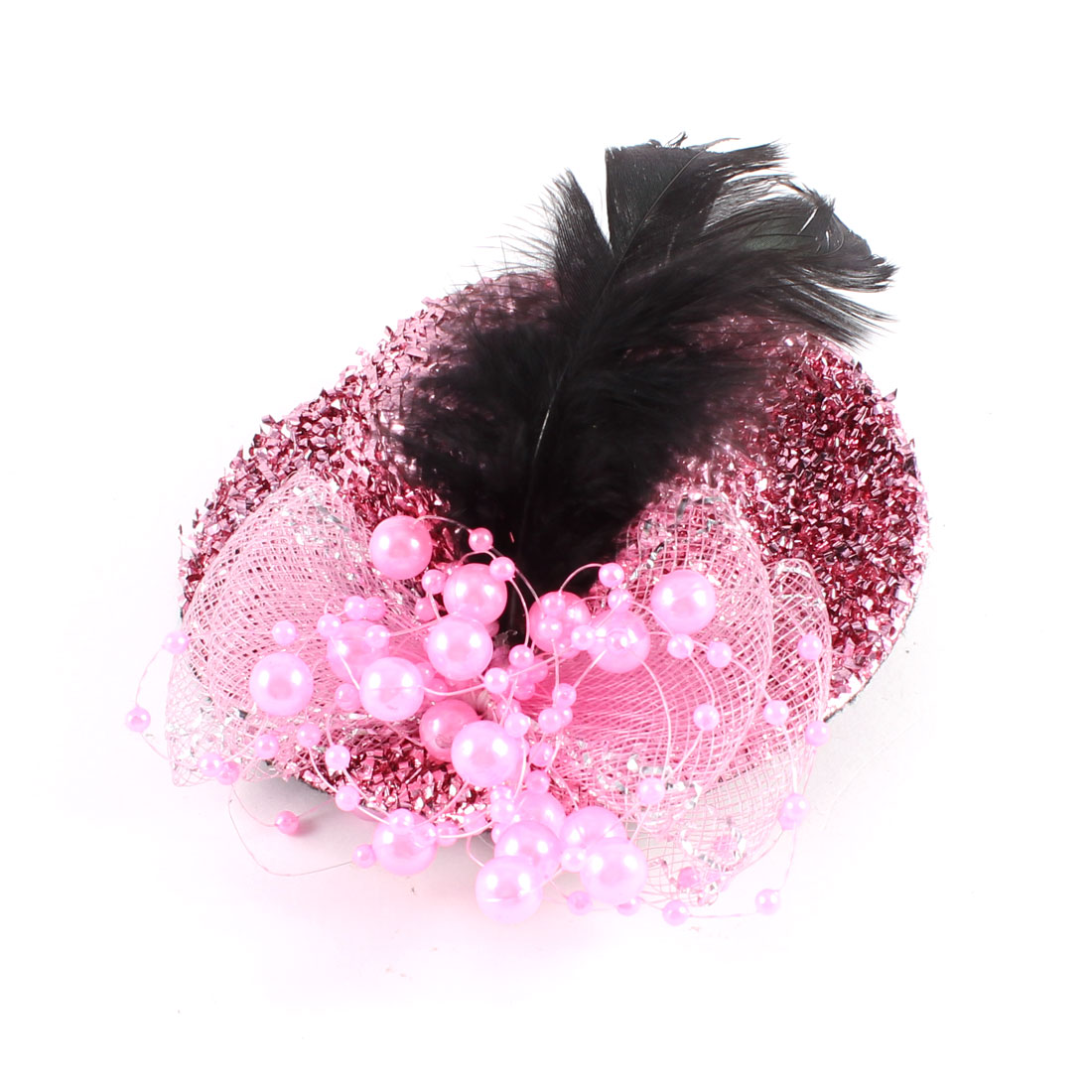 Pink Black Faux Feather Beads Detailing Twinkling Mini Top Hat Hair Clip 100mmx35mm