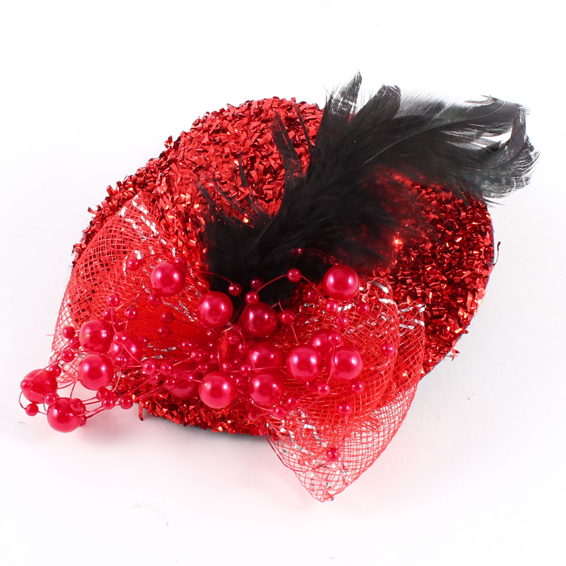 Faux Feather Plastic Beads Decorated Mini Top Hat Alligator Hair Clip Red Black