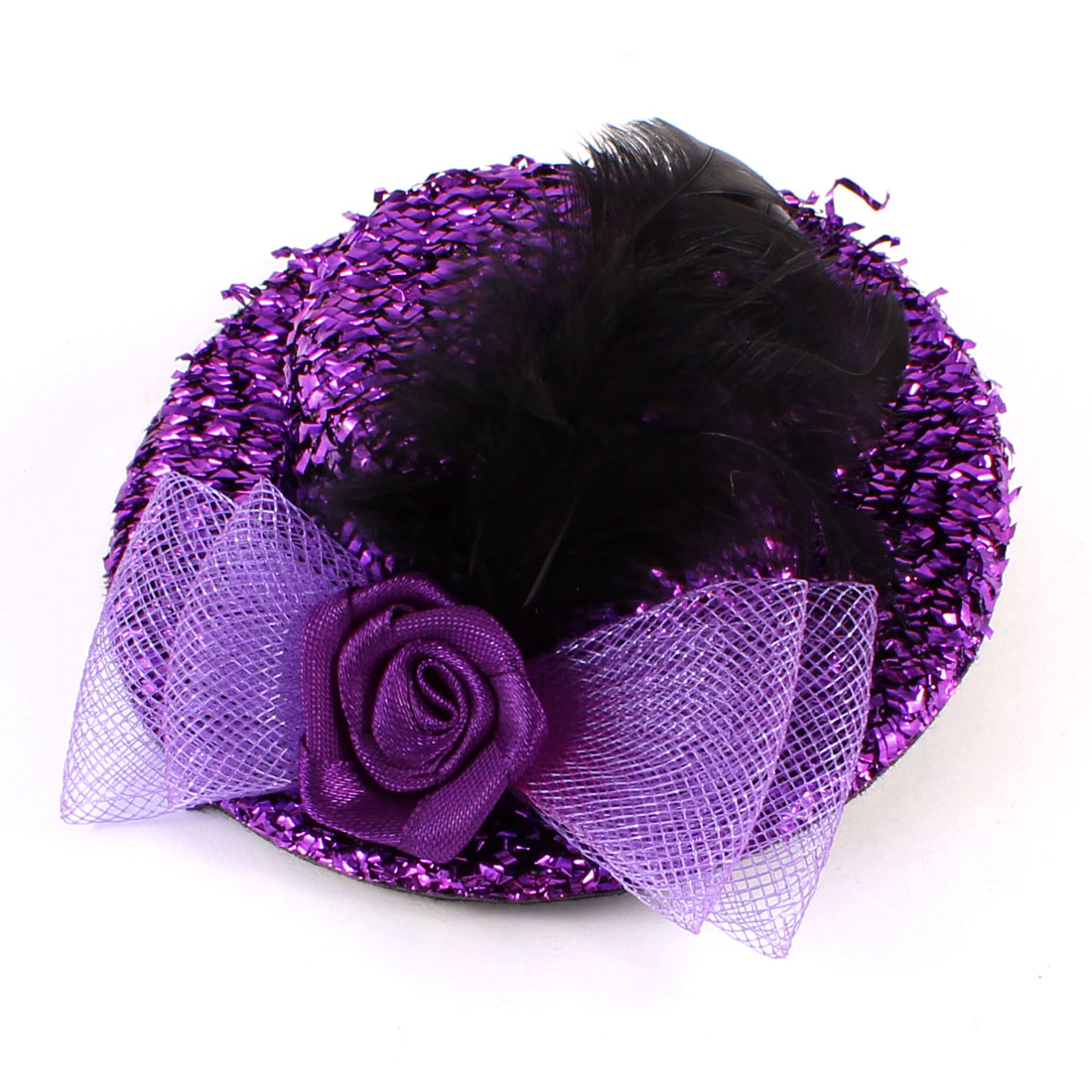 Bowknot Faux Feather Detail Tinsel Coated Mini Top Hat Alligator Hair Clip Purple