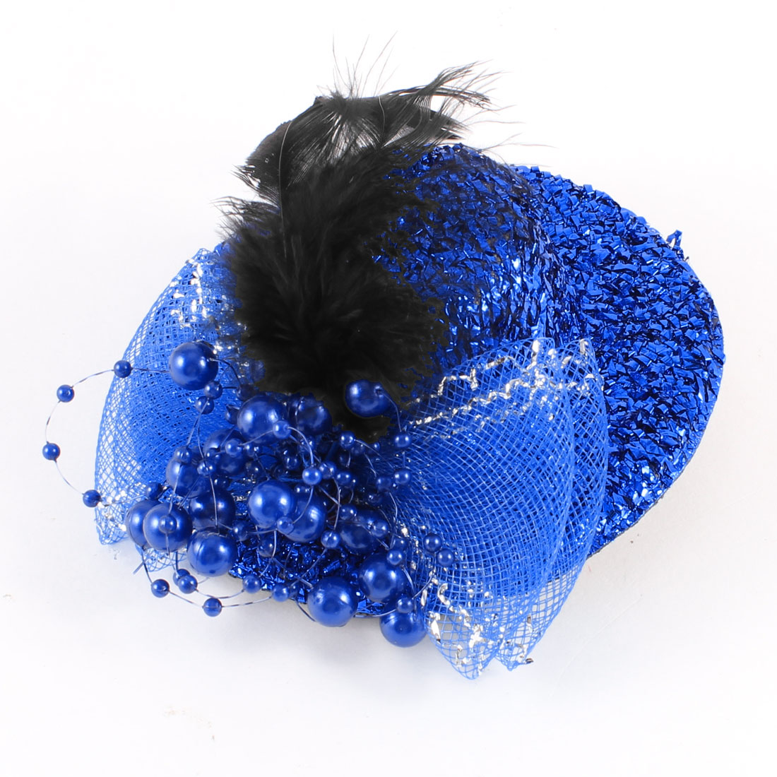Plastic Beads Detail Tinsel Coated Mini Top Hat Alligator Hair Clip Blue