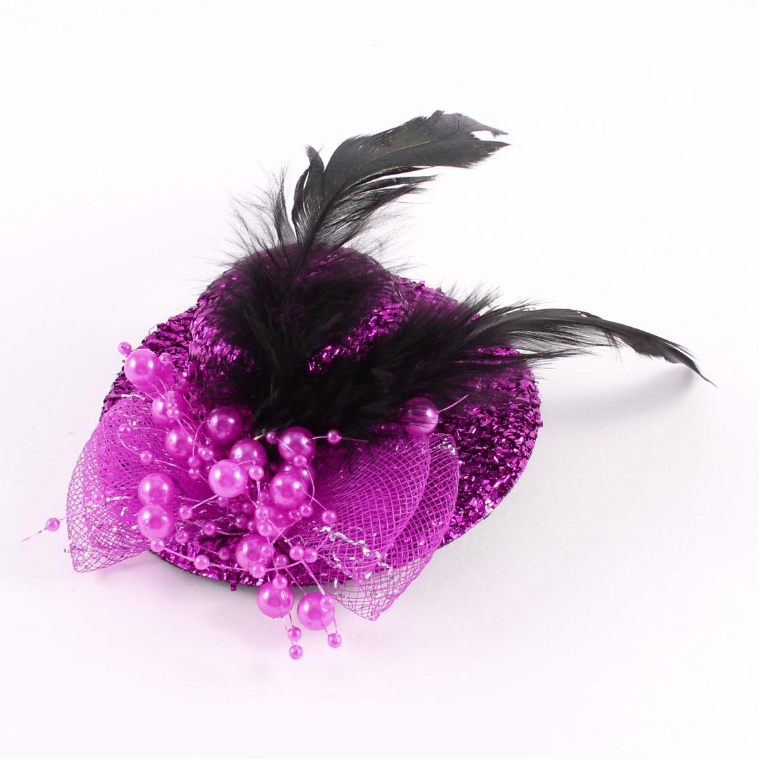 Bridal Bowtie Decor Tinsel Covered Mini Top Hat Hair Clip Fuchsia 100mmx35mm