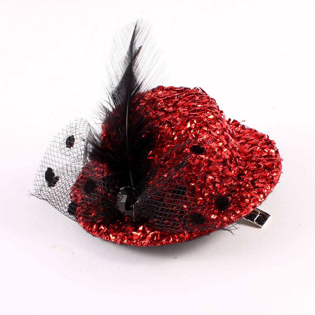 Fleece Lining Faux Feather Decor Tinsel Covered Mini Top Hat Hair Clip Red Black
