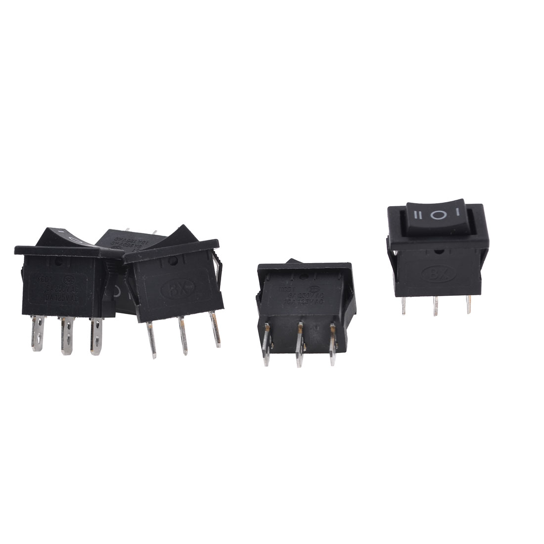 5 Pieces Black AC 250V/6A 125V/10A 3 Pin SPDT on/off/on Rocker Switches