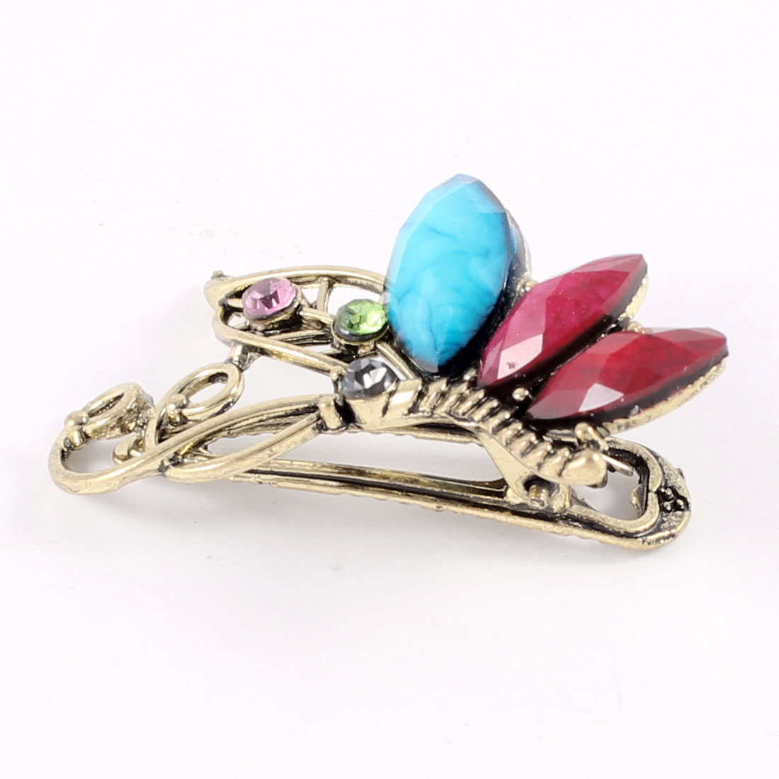 Turquoise Purple Oval Beads Accent Bronze Tone Single Prong Hair Clip Hairclip