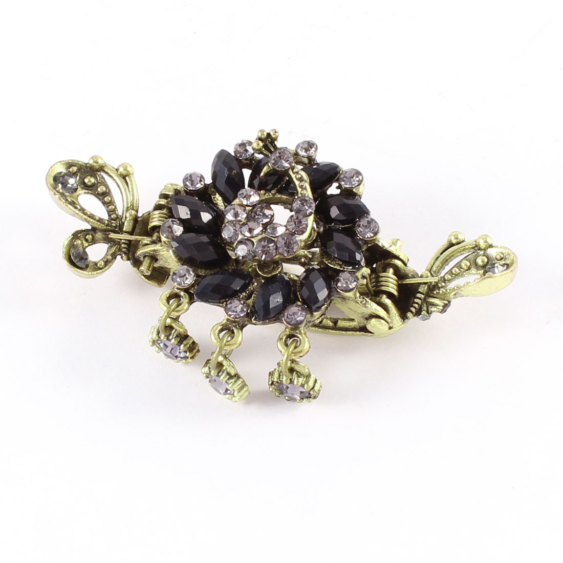 Bronze Tone Black Rhinestones Oval Beads Detailing Metal Hair Claw Clamp