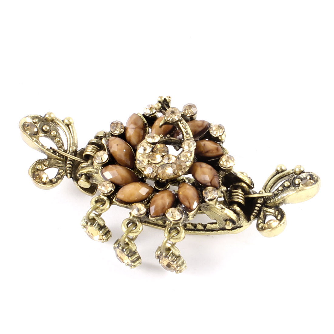 Bronze Tone Light Brown Beads Rhinestones Accent Mini Hair Claw Clamp