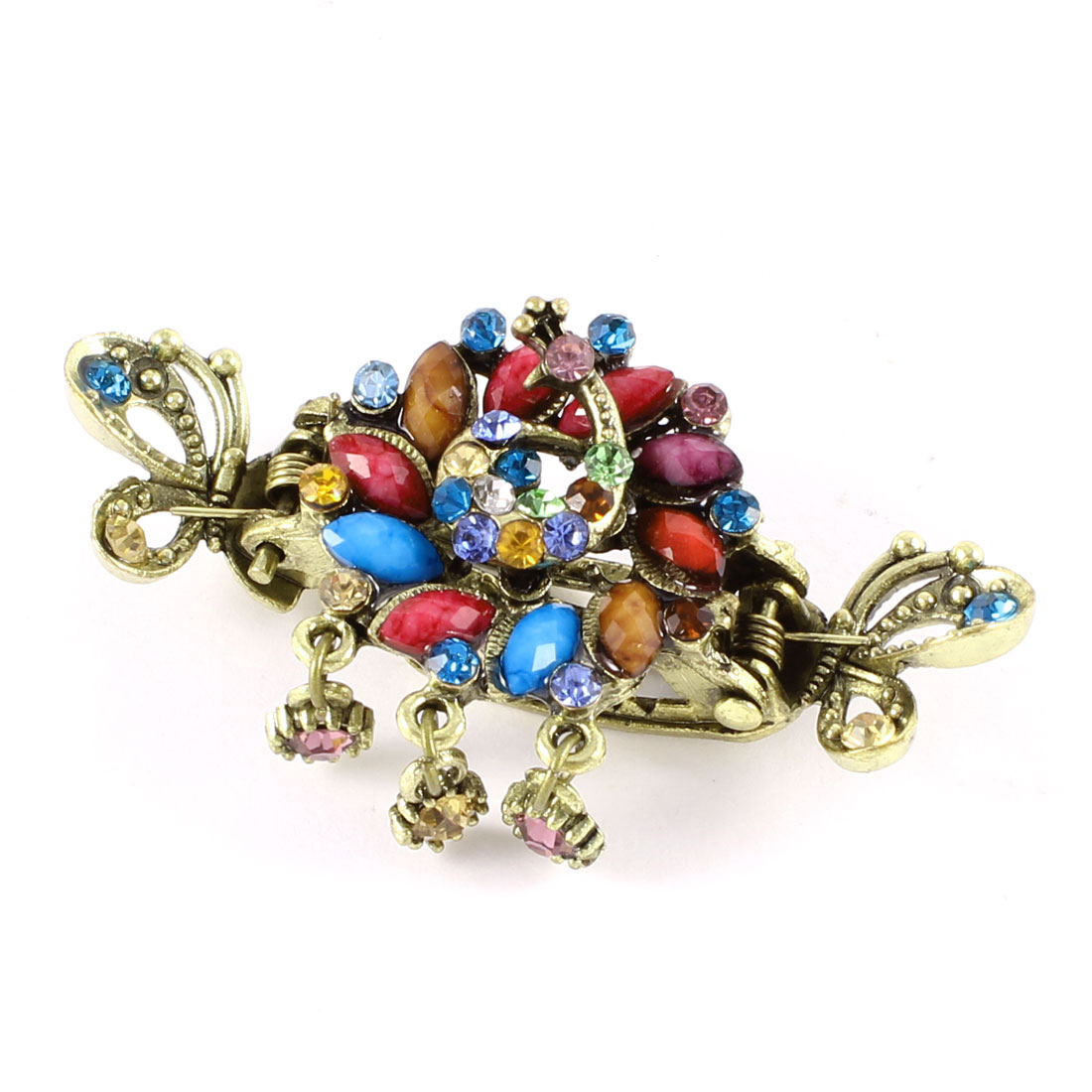 Bronze Tone Colorful Shiny Rhinestones Dangling Mini Hair Claw Teeth Clamp