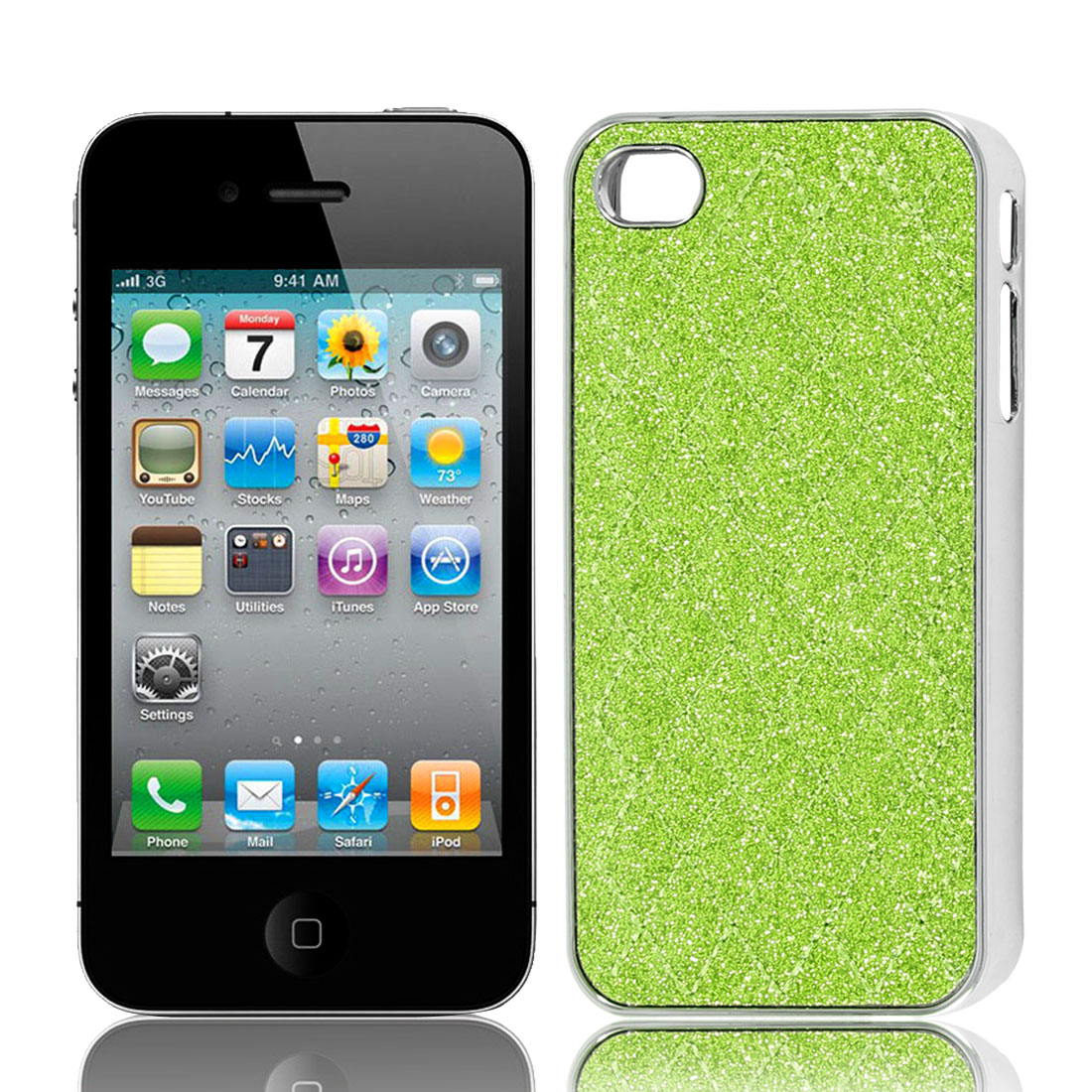 Green Glitter Powder Rhombus Pattern Back Case Cover Shell for iPhone 4 4G 4S 4GS