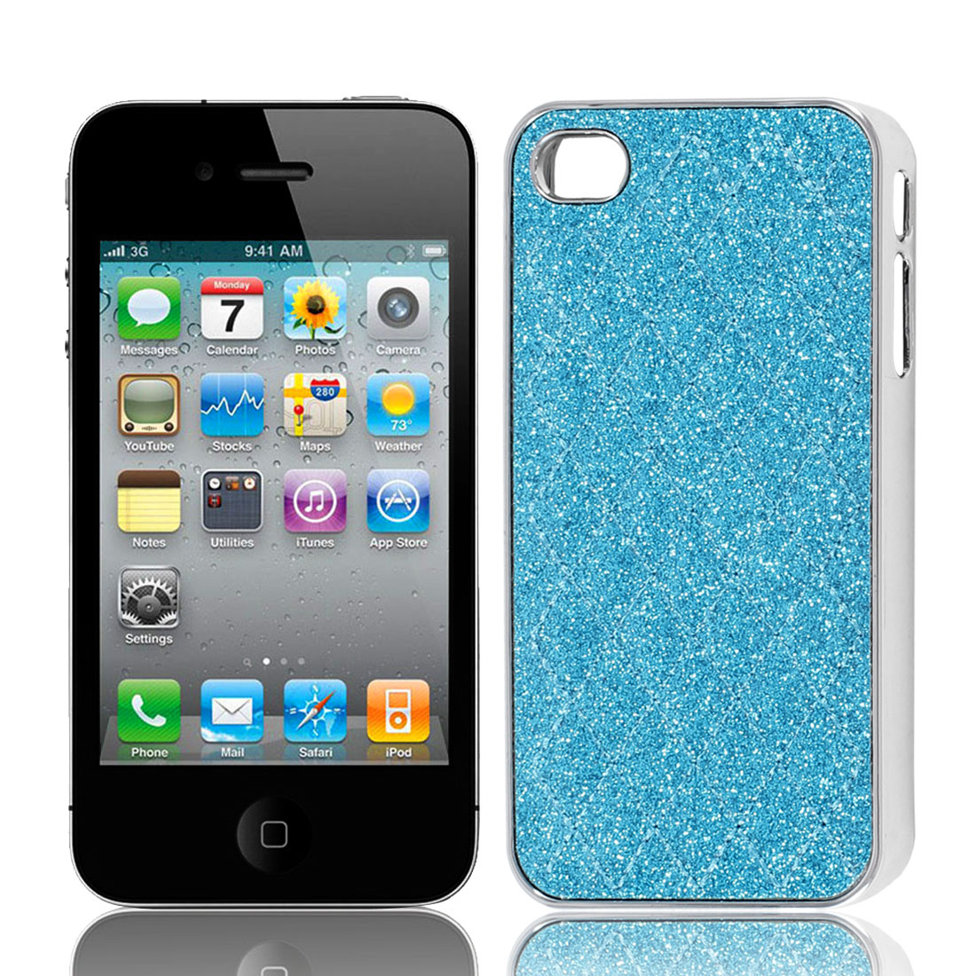 Sky Blue Powder Rhombus Print Hard Back Case Cover for iPhone 4 4G 4S 4GS 4th
