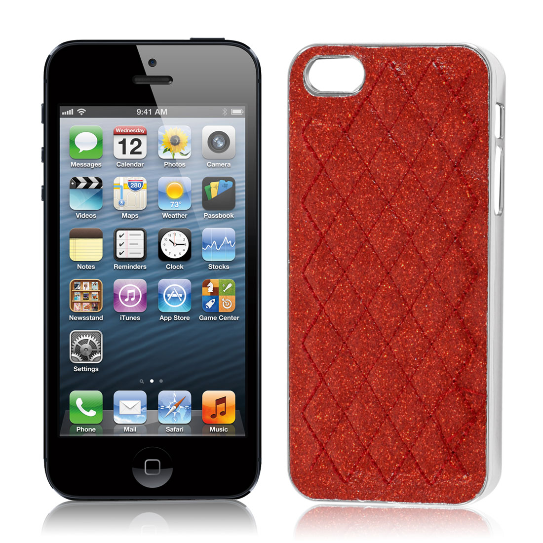 Red Powder Rhombus Print Hard Back Case Cover Shell for Apple iPhone 5 5G 5th