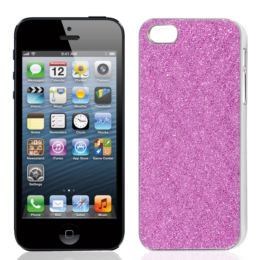 Fuchsia Glitter Powder Argyle Pattern Back Case Cover Shell for iPhone 5 5G 5th