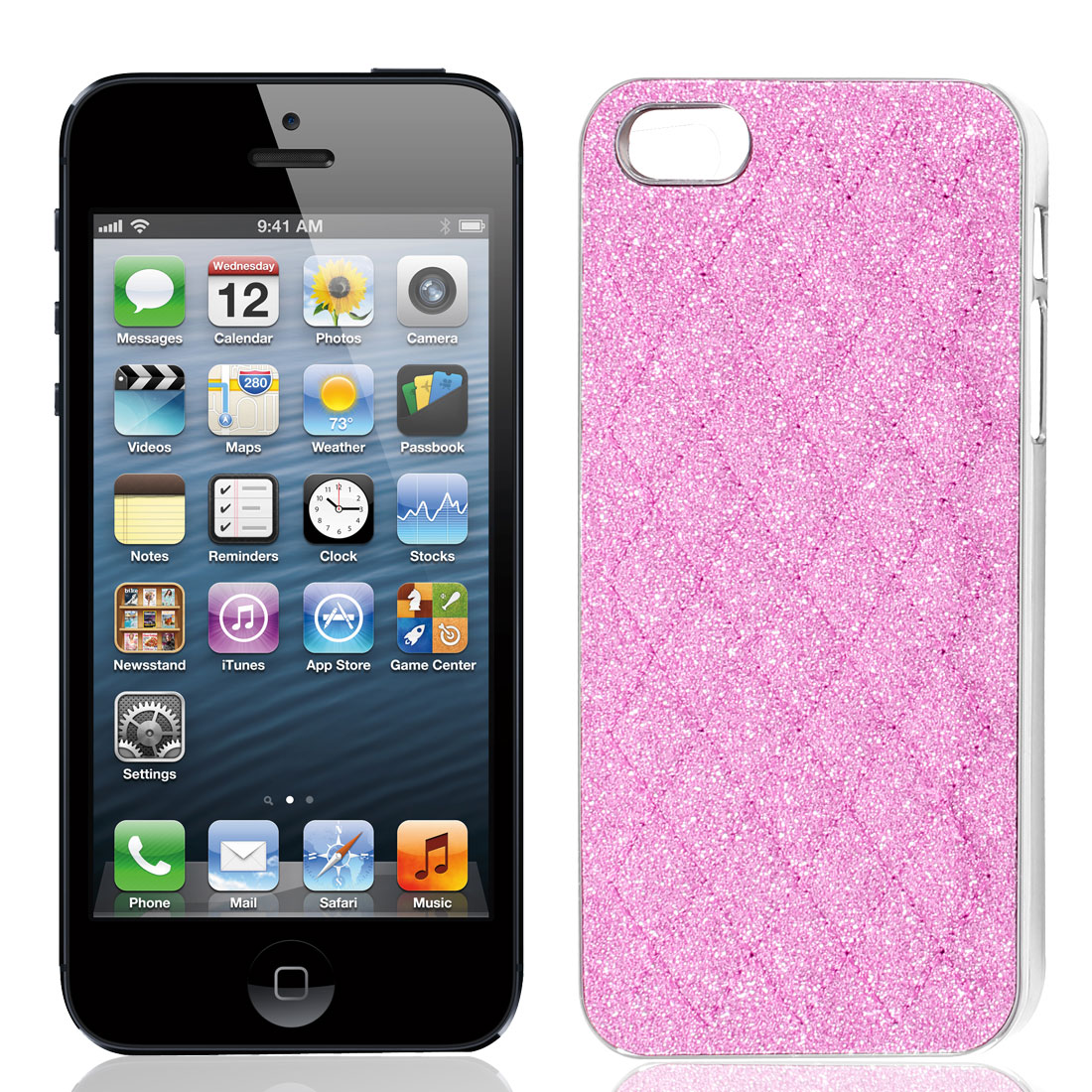Pink Glitter Powder Rhombus Pattern Hard Back Case Cover Shell for iPhone 5 5G