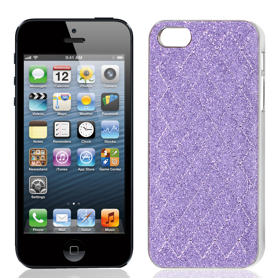 Purple Glitter Powder Rhombus Pattern Hard Back Case Cover for iPhone 5 5G
