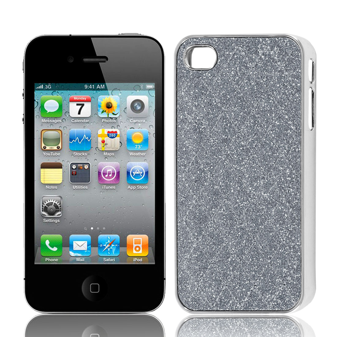 Gray Powder Rhombus Print Hard Back Case Cover for Apple iPhone 4 4G 4S 4GS 4th