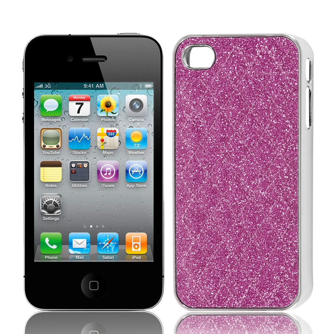 Fuchsia Glitter Powder Argyle Pattern Hard Back Case Cover for iPhone 4 4G 4S