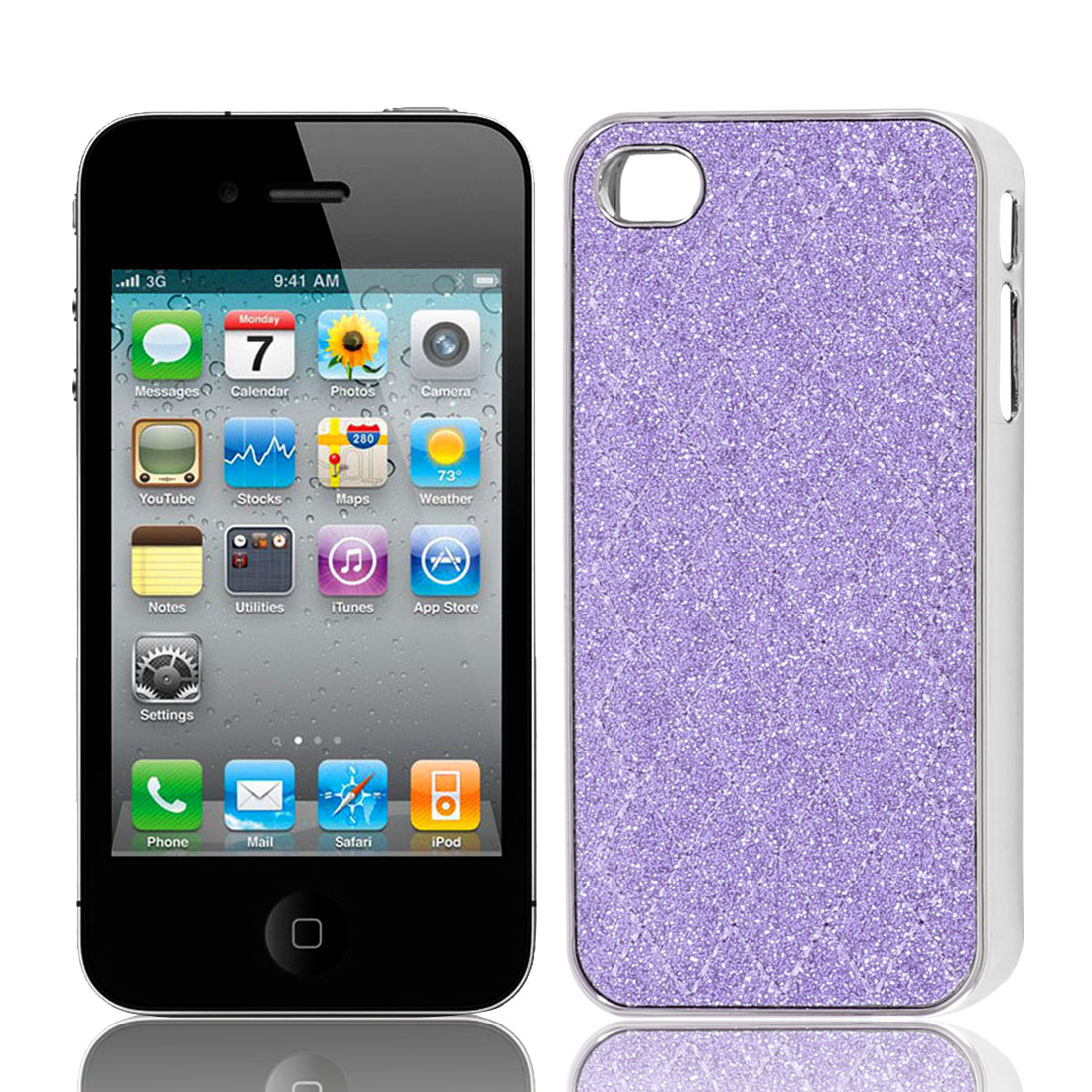 Purple Glitter Powder Argyle Pattern Hard Back Case Cover for iPhone 4 4G 4S