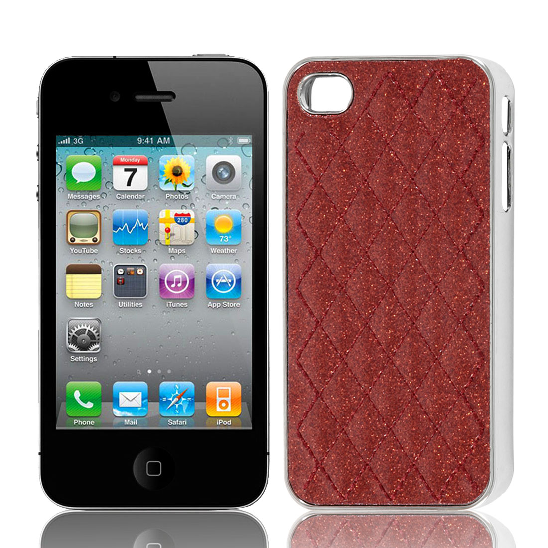Red Glitter Powder Argyle Pattern Hard Back Case Cover for iPhone 4 4G 4S 4GS