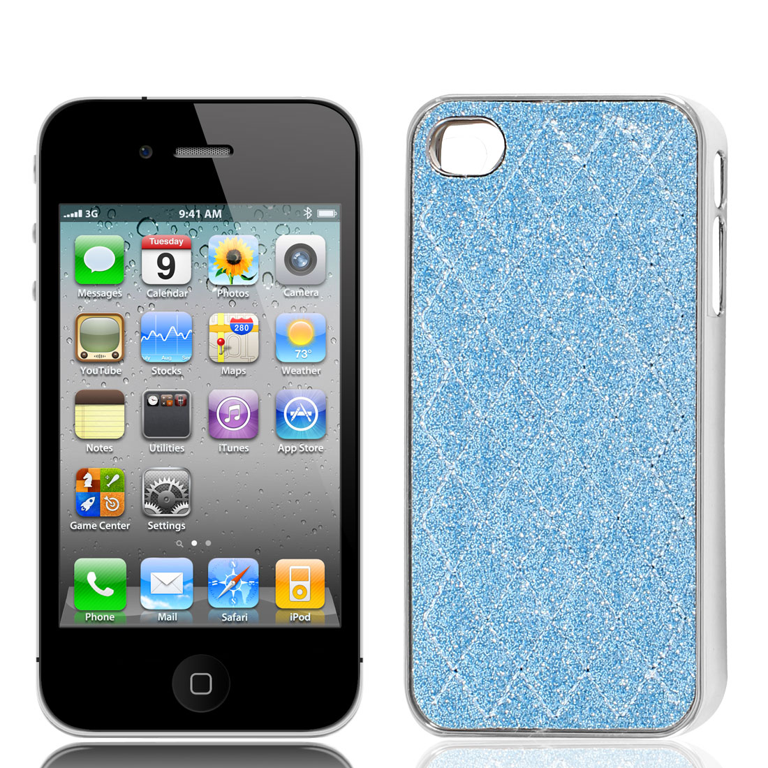 Pale Blue Glitter Powder Rhombus Pattern Back Case Cover for iPhone 4 4G 4S 4GS